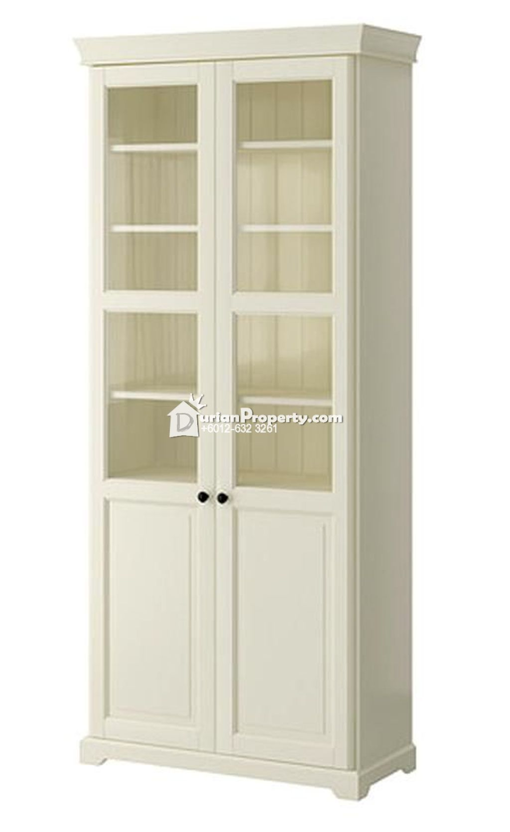 LIATORP Bookcase with glass doors For Sale