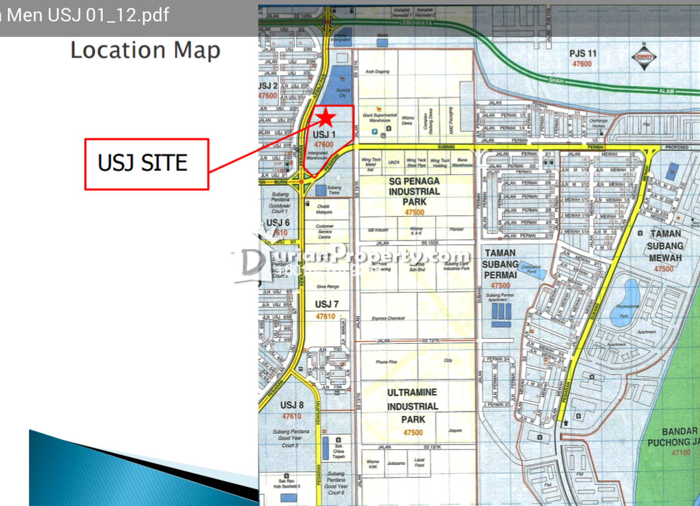 Office For Rent At USJ  USJ For RM  By Castilia Tan - Usj 1 location map