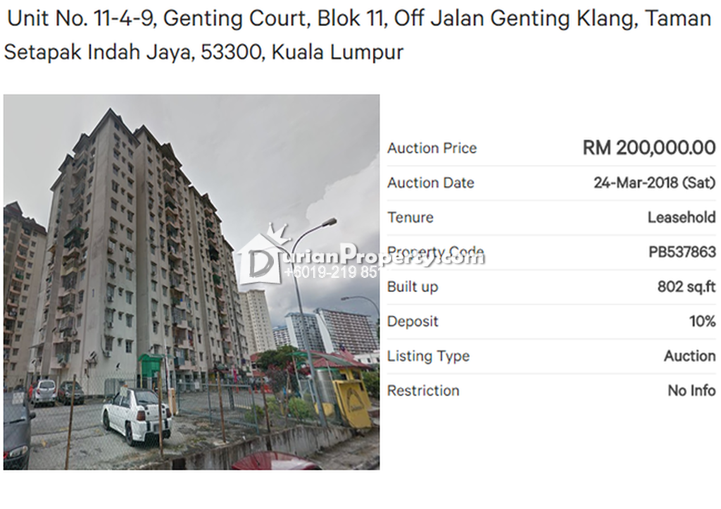 Apartment For Auction at Genting Court, Setapak