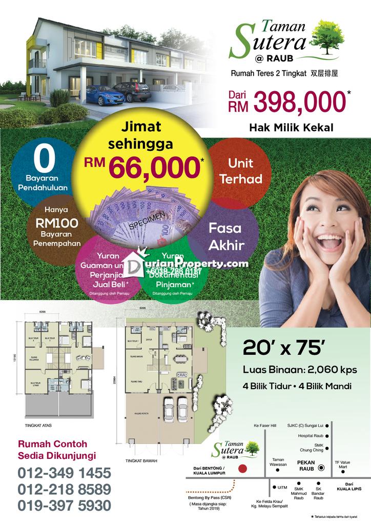 Terrace House For Sale at Taman Sutera, Raub