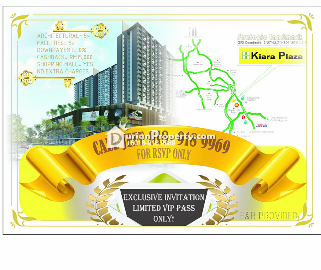 Condo For Sale at Kiara Plaza, Semenyih
