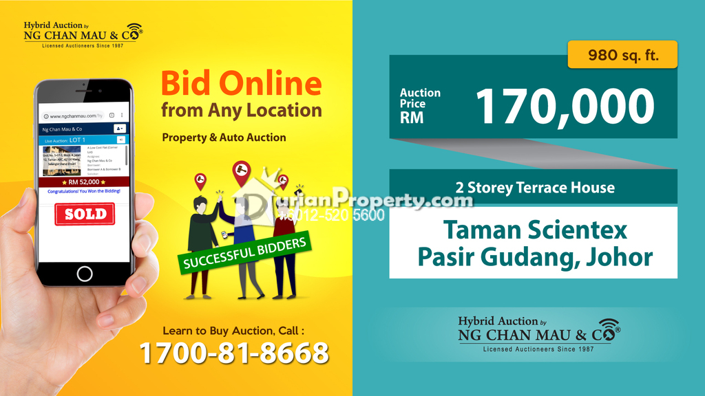 Terrace House For Auction at Taman Scientex, Pasir Gudang