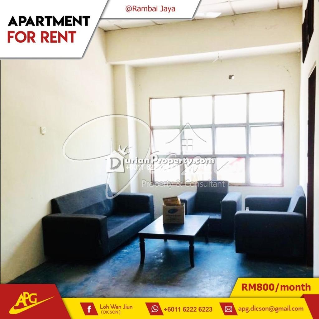 Apartment For Rent at Taman Rambai Jaya, Melaka
