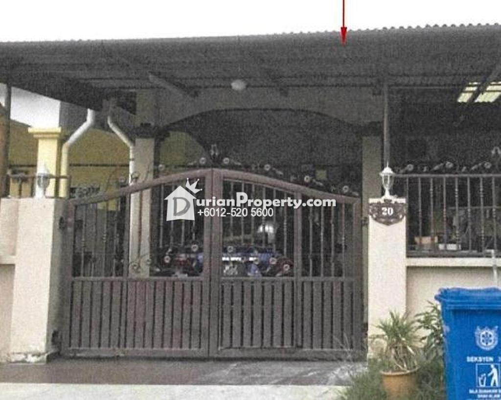 Terrace House For Auction at Section 34, Shah Alam