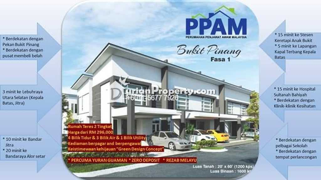 Terrace House For Sale at PPAM Bukit Pinang, Alor Setar