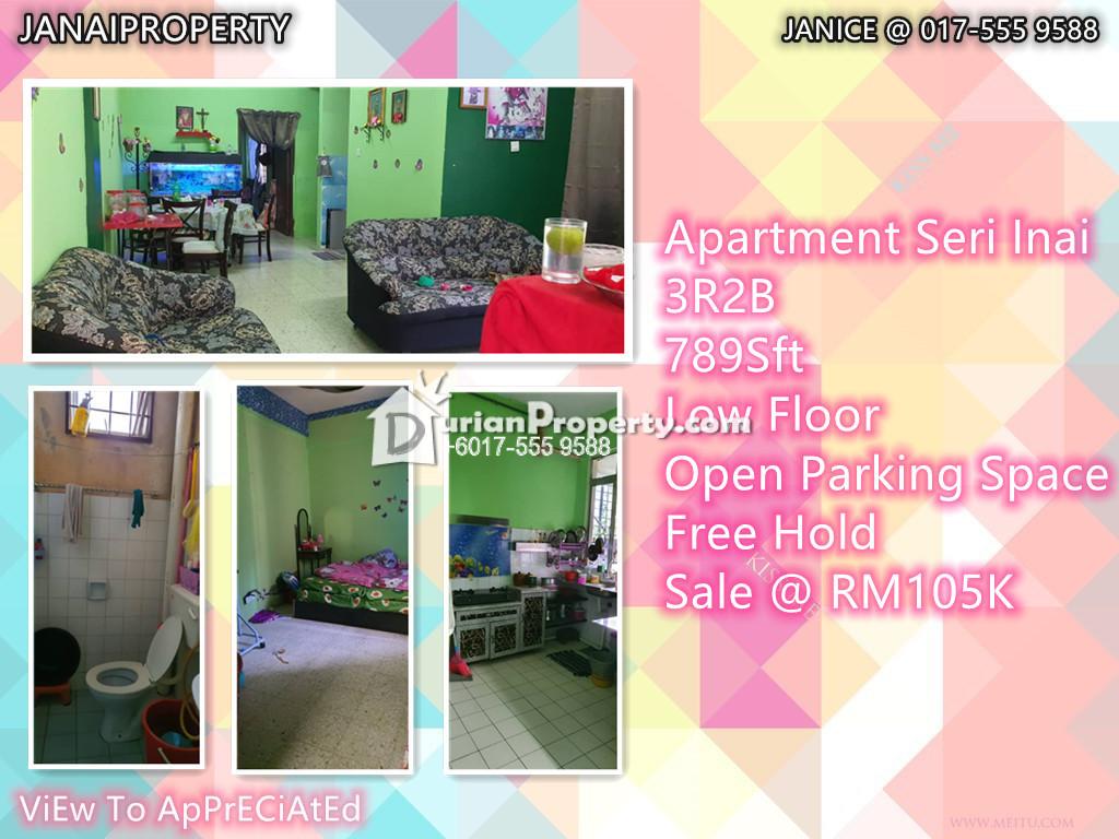 Apartment For Sale at Pangsapuri Seri Inai, Bukit Sentosa