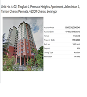 Property for Auction at Permata Heights Apartment