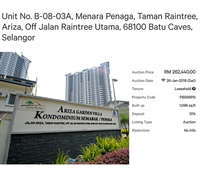 Property for Auction at Semarak & Penaga Condominium