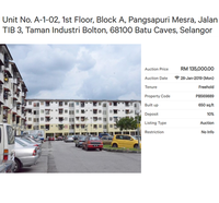 Property for Auction at Pangsapuri Mesra (Taman Industri Bolton)